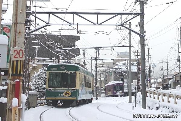 積雪でも走る嵐電・クロネコヤマト電車